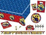 Amscan 9902643 Party Set Geschirr, Feuerwehrmann, Kindergeburtstag, Dekoration, Partygeschirr, Fireman Sam