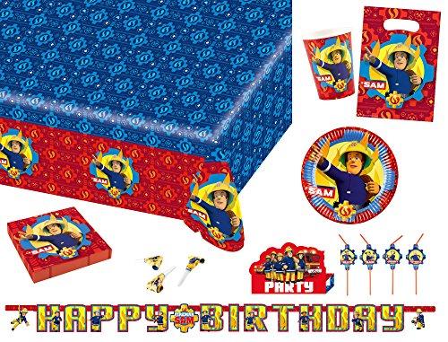 Amscan 9902643 - Partyset Feuerwehrmann Sam, Partygeschirr, Kindergeburtstag