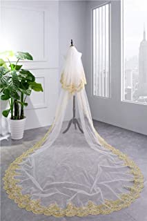 Wedding Veil,Bridal Veil Cathedral Long Soft Veil Elegant Golden Lace Edge Soft 2-Tier Tulle Wedding Veil with Metal Comb