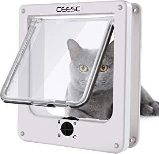 CEESC Cat Doors, Magnetic Pet Door with 4 - Way Rotary Lock for Cats, Kitties and Kittens, Upgraded Version