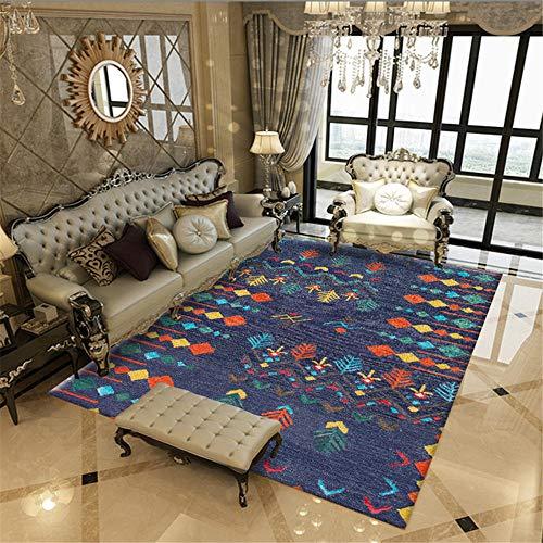 RUGMYW Alfombra Infantil Insonorizadas Estilo Étnico Naranja Azul Pintado A Mano Home Salon Dormitorio Cocina Oficina Tapetes Alfombra 120X160cm