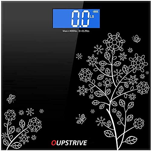 OUPSTRIVE Bathroom Weight Machine Electric Thick Tempered Glass LCD Display Digital Personal Weight Machine for Health Body Weight Scale Bathroom Weight Machine Digital for Home