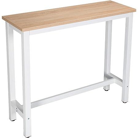 WOLTU BT17hei Table de Bar 120x40x100cm Table Bistrot Table à Manger, Structure en métal et Plateau en MDF Robuste,Chêne Clair