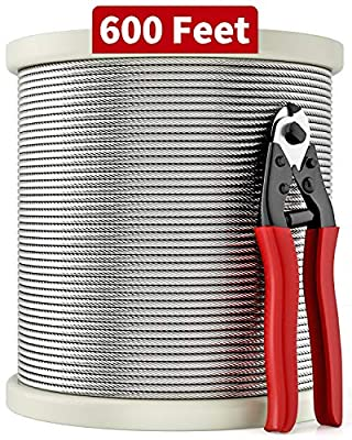 LuckIn 1/8 T316 Stainless Steel Cable with Cutter, Aircraft Cable for Deck Railing, 7 x 7 Strands Construction, 600FT