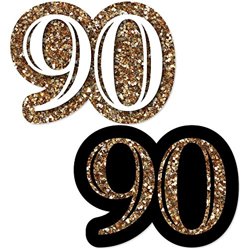 Big Dot of Happiness Adult 90th Birthday - Gold - DIY Shaped Birthday Party Cut-Outs - 24 Count