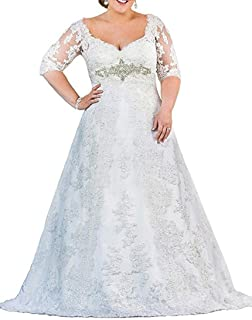 b447733eb6d42 WeddingDazzle Women's Plus Size Wedding Dress for Bridal Applique Beading Bridal  Gowns
