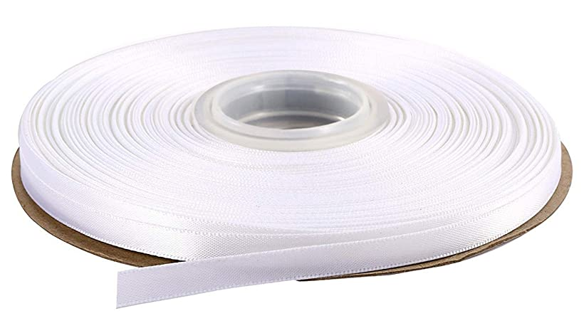 DUOQU 3/8 inch Wide Double Face Satin Ribbon 50 Yards Roll Multiple Colors White skzq178738802614