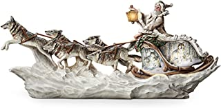 Wolf Art Illuminated Christmas Decor Sculpture: Santa's White Wolf Sleigh