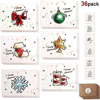 Buon Natale Disegni.Howaf 36 Pacco Cartoline Di Natale Buon Natale Auguri Biglietti In 6 Disegni Con Buste E Adesivi 3 3 X 4 5 Pollici Amazon It Giochi E Giocattoli