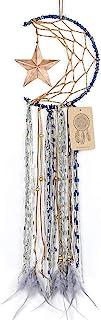 Dremisland Blue Dream Catcher Handmade Half Circle Moon Design Dream Catcher Feather Hanging with Star Home Decoration Orn...