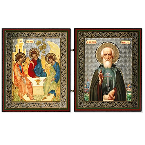 Russisch-orthodoxe Holy Trinity und Saint ST sergious Icon Diptychons 22,9 cm