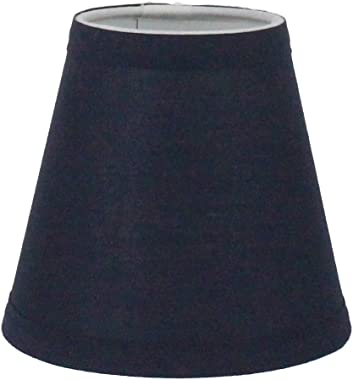 Urbanest Navy Blue Cotton Chandelier Lamp Shade, 3-inch by 6-inch by 5-inch, Clip-on, Hardback