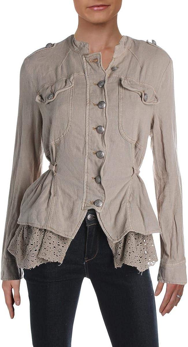 Free People Womens Emilia Lace-Trim Button-Down Jacket