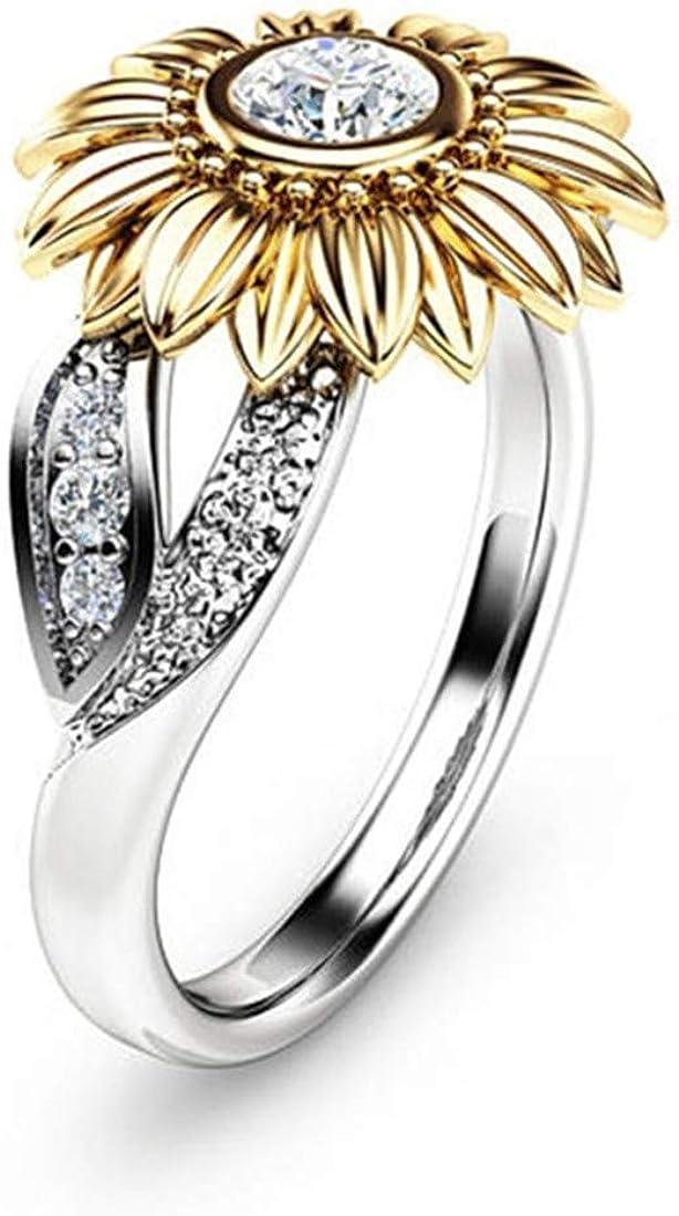 DALARAN Sunflower Ring for Women Girls Eternity Band Rings Size 6 7 8 9 10