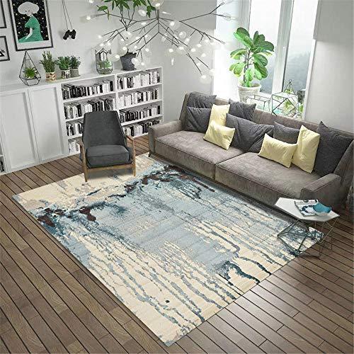RUGMYW Moderno Alfombra Dormitorio Infantil Elementos Abstractos Azul marrón Beige Alfombra de Juegos niños 80X160cm