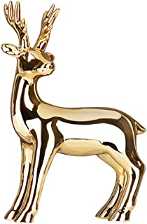 VOSAREA Ceramic Deer Figurine Modern Electroplating Polished Gold Deer Statue Sculpture for Home Desktop Wine Cabinet TV S...