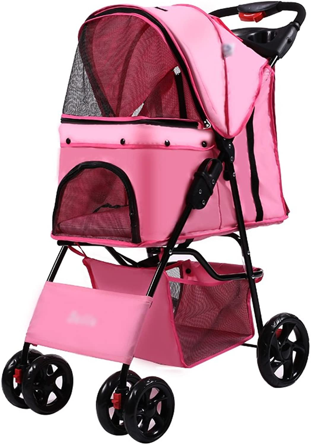 Pet trolley NAUY Fourwheel Easy Folding Dog Cats And Dogs Teddy Trolley Cage Outdoor Travel Goods (color   PINK)
