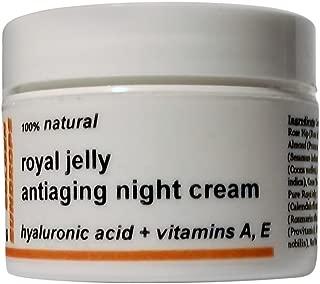 Golden Sundrops Royal Jelly Antiaging Night Cream (1.5oz / 42g) Hyaluronic Acid Vitamin A and E Rose Hip Oil Kokum Butter Skin Healing Dry Skin Face Neck Moisturize Decrease Fine Lines Reduce Wrinkles