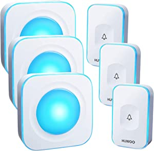 HUWOO Wireless Doorbell Waterproof Door Bell with 7 Colour Flash LED Light 36 Ringtones 4 Volume Levels Operating at 1000 Feet for Home Office 3 Plug-in Receivers & 3 Touch Buttons