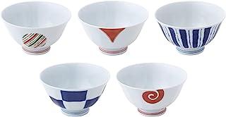 西海陶器 波佐見焼 茶碗 染錦モダン 直径 11.5 cm 5個 セット 13351