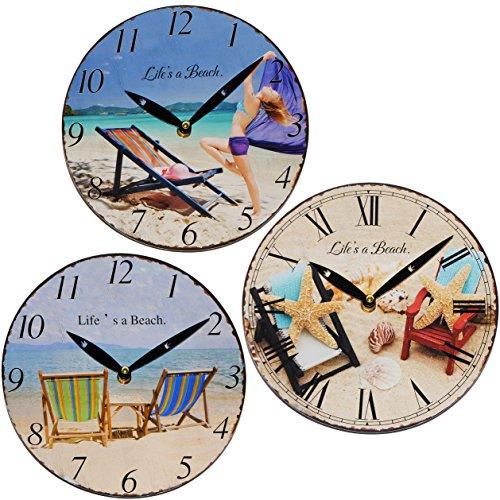 alles-meine.de GmbH Wanduhr -  Life´s a Beach - Sommer - Urlaub / Strand  - aus Holz - Ø 23,5 cm groß - schleichendes Uhrwerk & sehr leise ! - Uhr - Analog - mediterran Küchenu..