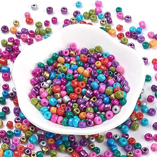 Fashewelry 4500pcs 6/0 bolas de cristal de pintura para hornear cuentas de cristal multicolor para manualidades, pulseras, collares, manualidades, suministros de fabricación de joyas