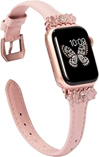 Wearlizer Thin Leather Compatible with Apple Watch Band 38mm 40mm for iWatch Womens Slim Metal with Unique Decoration Strap Wristband Beauty Replacement (Rose Gold Clasp) Series 5 4 3 2 1-Rose Pink