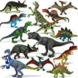 Joyin Toy 18Piece 6' to 9' Educational Realistic Dinosaur Figures with Movable Jaws Including T-Rex, Triceratops, Velociraptor, Etc