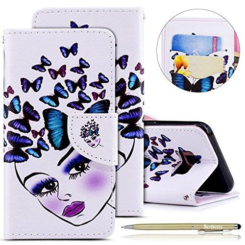 Herbests Etui en Cuir Coque à Rabat Magnétique Housse de Protection avec Motif Ultra Mince Flip Wallet Case avec Porte-Cartes pour Galaxy S8#D57
