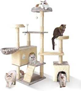 Cat Tree Cat Tower, HAMATE 57 Inches Multi-Level Cat Condo with Basket & Scratching Posts for Kittens/Large Cat, Plush Perch & Toys for Play Rest (Grey)