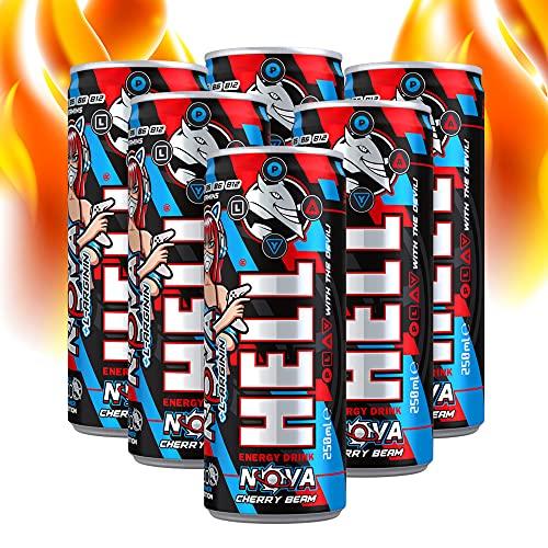 Hell GAMER Nova Energy Drink mit Cherry Beam Geschmack | 6 x 250 ml | Koffeingehalt 32 mg/100 ml, Acetyl-L-Carnitin, L-Arginin und B-Vitaminen | OHNE Pfand | Dosen Getränke