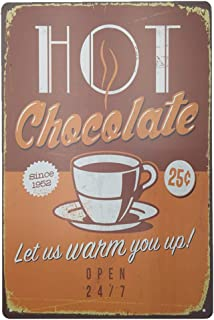 Hot Chocolate Let Us Warm You Up Metal Sign Retro Home Decoration Vintage Tin Sign Posters for Bar Pub Home 12 X 8 Inch