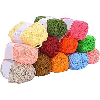 Hilo acrílico, 12 colores Hilo de algodón de leche Hilo de tejer ...