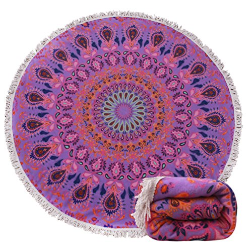 (14 Patterns) Thick Terry Round Beach Towel/Round Beach Blanket/Round Beach Mat Roundie Tapestry/Round Yoga Mat with Fringe Tassels Flamingo