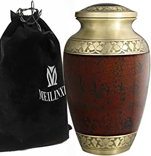Cremation Urn for Human Ashes Adult - Brass Funeral Urn for Women or Men - Hand Engraved Golden Flower Large Urn -Display Burial at Home or in Niche at Columbarium (Dad or Lover, Tranquil Life, Brown