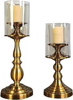 GWFVA Une Paire de bougeoirs en Bronze Jaune, Simples et Polyvalents, Ensemble créatif pour la Maison