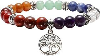 Qgem - Pulsera de 10 mm 7chakras con perlas naturales y pequeño colgante, para hombre o mujer, yoga, meditac...