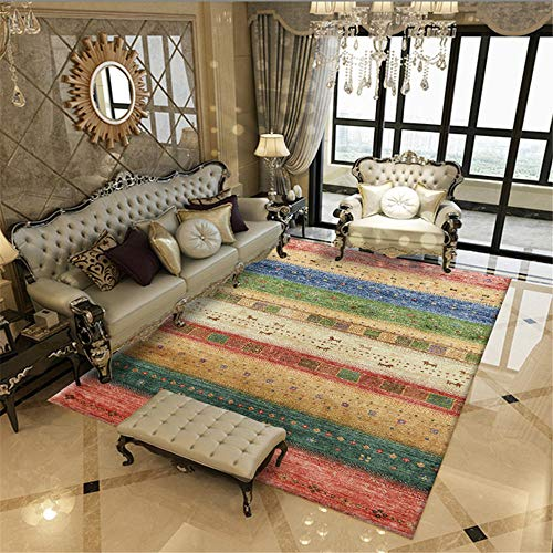 Kunsen habitacion Alfombra habitacion Juvenil Habitación para niños Alfombra Rectangular Color a Rayas Antideslizante Suave alfombras Juveniles para Dormitorio 120x180cm 3ft 11.2' X5ft 10.9'