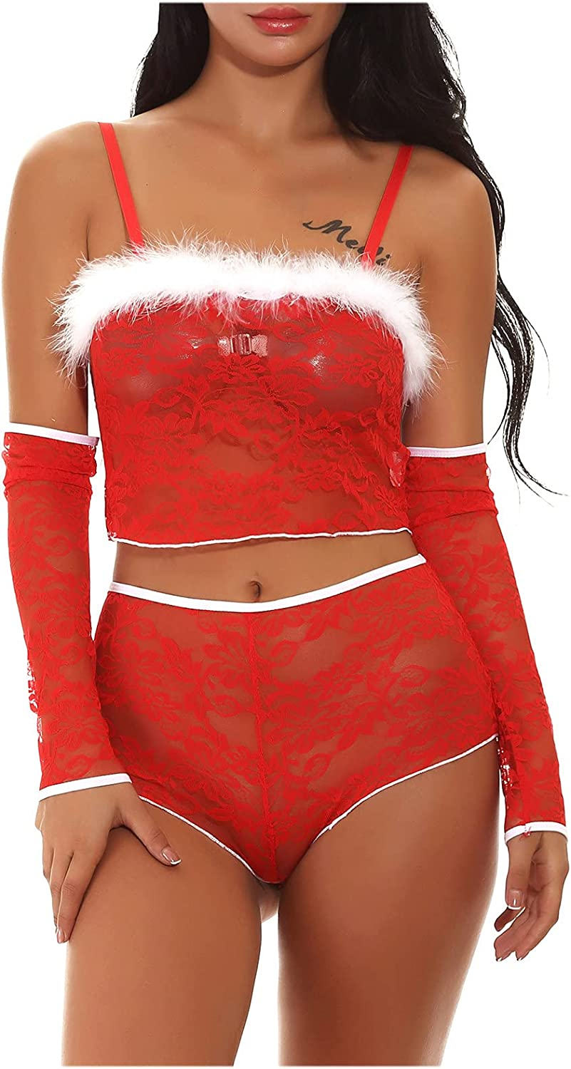 CofeeMO Christmas Red Womens Sexy Split Sling Nightdress Lingerie Set Role Play Pajamas V Neck Babydoll Underwear for Sex