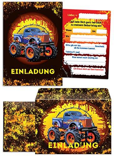 6 Einladungskarten zum Kindergeburtstag Monstertruck incl. 6 Umschläge / Monster-Truck / Auto / Einladungen zum Geburtstag für Jungen