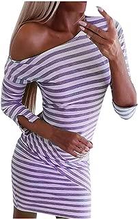 Big Sale BBesty Fashion Women's Long Sleeve O-Neck Stripe Solid Half SleeveTight Splicing Dress,Travel,Work,Casual