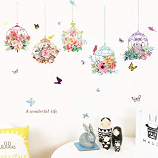 Vacally Birdcage Butterfly Flowers Background Wall Stickers Decoration Removable Wall Stickers Children's Room Cute Cartoon Windows Room Door Decoration Mural Fresco Decals