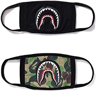 Shark Face Mask,Ski Cycling Camping Half Face Mouth Masks,Fashion Anti-Dust First Aid Cotton Mask for Boys and Girls 2 Packs