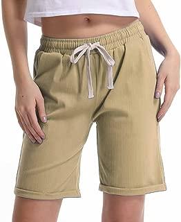 Gooket Women's Elastic Waist Casual Comfy Cotton Linen Beach Shorts with Drawstring
