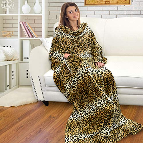 Catalonia Classy Wearable Snuggle Blanket with Sleeves and Pocket, Soft Cosy Fleece Slankets for Women Fluffy Plush Throws Winter TV Blanket for Sofa Couch 185 x 130 cm, Leopard
