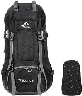 登山バッグ 大容量、elecfanJ リュックサック 背中通気 ハイキングバッグ 収納性抜群 防水カバー付属 男女兼用 60L