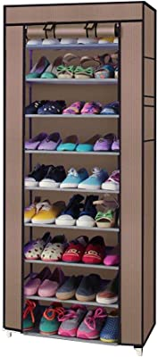 Anva 9 Layer Shoe Rack Organizer Stand Shoe Shelf Cabinet with Non-Woven Fabric Foldable & Portable for Home 58x28x160 cm Brown