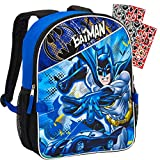 Batman Backpack for Kids Bundle ~ Deluxe 16' DC Comics Batman Backpack with Over 300 Justice League Stickers (Batman School Supplies)