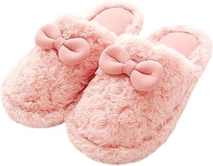 9bf48346de7 FreLO Women s Pink Plush Bows Cute Slippers Womens Slippers