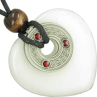 Celtic Triquetra Knot Protection Amulet White Snowflake Quartz Heart Pendant Necklace